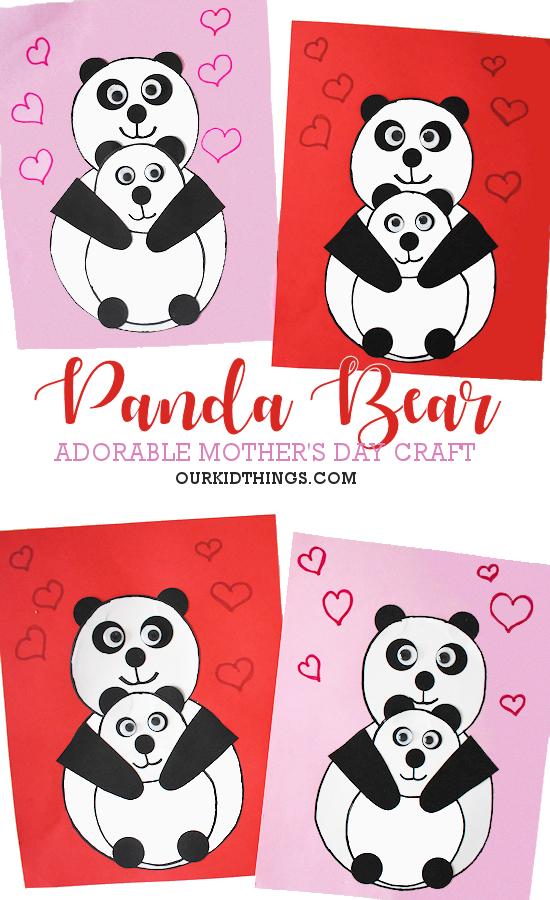 Panda Bear Mother's Day Craft pin image.