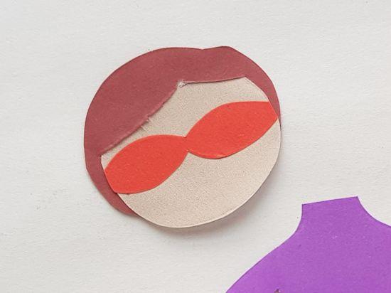 Slide head in slit of hair pattern and glue.