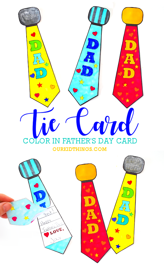 Father's Day Color-In Tie Card pin image.