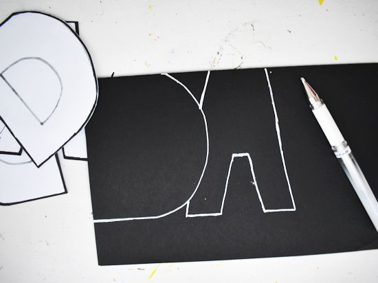 Trace template on black cardstock.